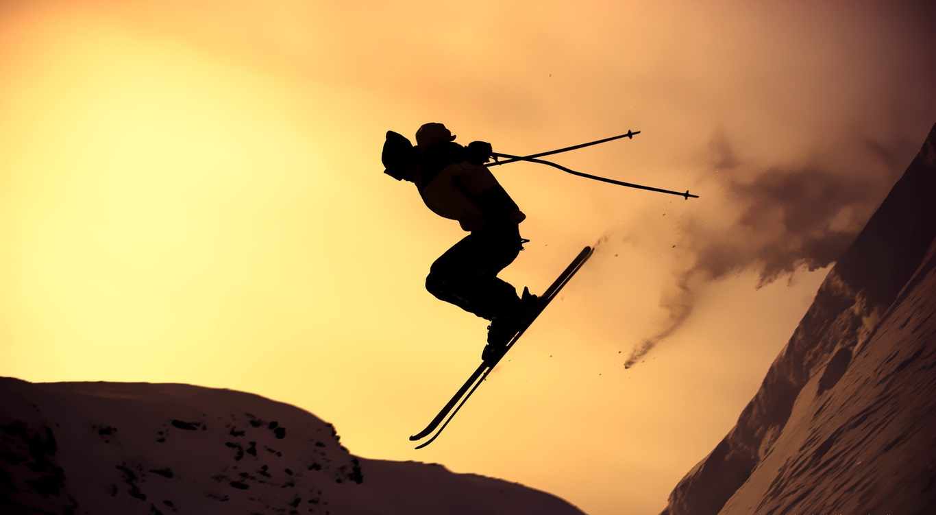 evening-skiing-silhouette